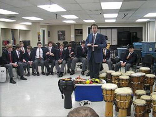 <p>Don Finlay's Grade 9 band class at St. Andrew's College school won the first ever Breezin' Thru Theory drill contest, by being the first school to complete 10 drills with all students scoring over 80%. Their prize was an amazing Hand Drumming clinic. Their newfound knowledge of Rhythm was put to great use!</p>